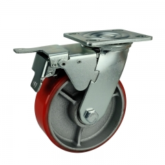 Polyurethane Caster Wheel With Double Brakes