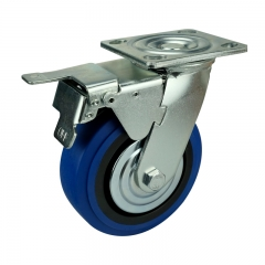 Blue TPR Caster Wheel With Double Brakes