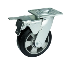 rubber caster wheel with double brakes