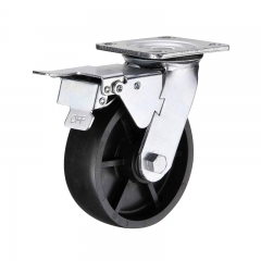 plastic swivel caster wheel with double brakes