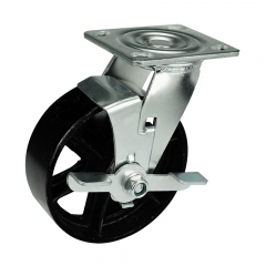 cast iron caster wheel with side brake