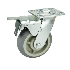 Gray TPR Caster Wheel With Double Brakes