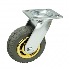 Gray Elastic Rubber Swivel Casters Wheels