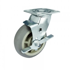 Gray TPR Caster Wheel With Side Brake