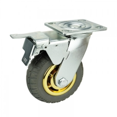Double Brakes Gray Rubber Casters Wheels