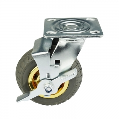 Gray Elastic Rubber Casters Wheels With Side Brake