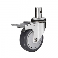 insert stem PU swivel double brakes caster wheel nylon pedal