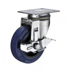 rubber caster wheel with side brake