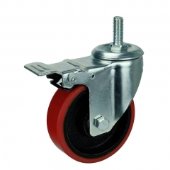 threaded stem PU caster wheel with double brakes