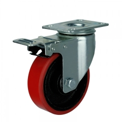 cast iron core PU caster wheel with double brakes