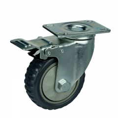 Gray PVC Swivel Caster Wheel With Double Brakes