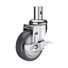 insert stem PU swivel caster with side brake