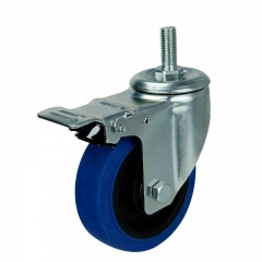 threaded stem blue TPR caster wheel with double brakes