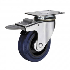 rubber double brakes caster wheel