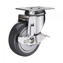 PU swivel plate caster wheel with side brake