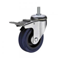 threaded stem double brakes rubber caster wheel nylon pedal
