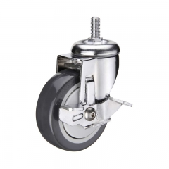 Threaded stem PU caster wheel with side brake