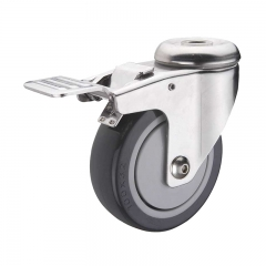 Bolt hole PU caster wheel with double brakes