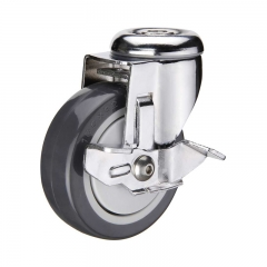 Bolt hole PU caster wheel with side brake