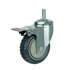 Threaded Stem Gray PVC Caster Wheel With Double Brakes