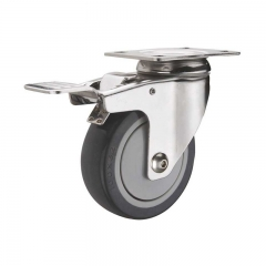 PU swivel plate caster wheel with double brakes