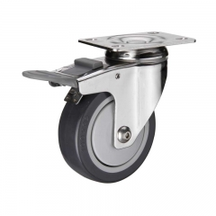 PU swivel plate double brakes caster wheel nylon pedal