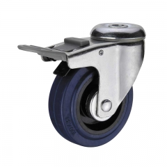 Bolt hole soft rubber double brakes swivel caster wheel with nylon pedal