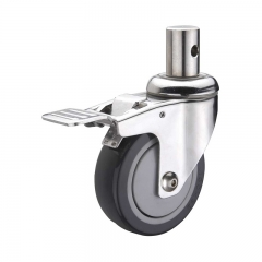 insert stem PU swivel caster with double brakes