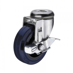 Bolt hole soft rubber swivel caster wheel with side brake