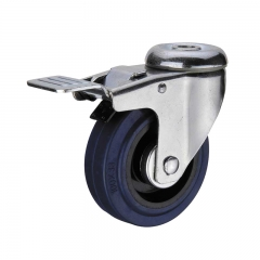 Bolt hole soft rubber swivel caster wheel with double brakes