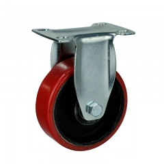 cast iron core PU rigid caster wheel