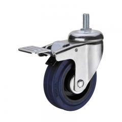 threaded stem caster wheel with double brakes