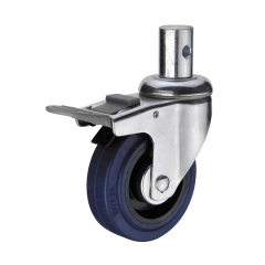 double brakes rubber castors and industrial wheels nylon pedal