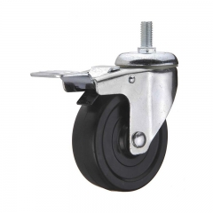 Black hard rubber threaded stem swivel caster wheel with double brakes