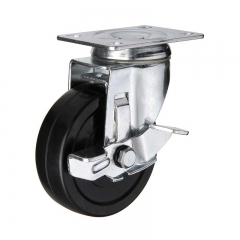 Black hard rubber swivel caster wheel with side brake
