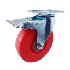 Red PVC swivel caster wheel with double brakes