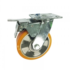 High Load Aluminum Core Polyurethane Swivel Caster Wheel With Double Brakes