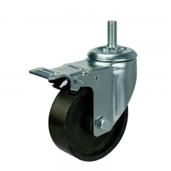 cast iron threaded stem swivel caster wheel with double brakes