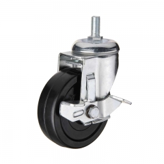 Black hard rubber threaded stem swivel caster wheel with side brake