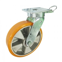 kingpinless aluminium core PU swivel caster wheel with position lock
