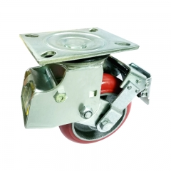 swivel shock absorber caster wheel with brake