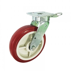 kingpinless PU swivel caster wheel with position lock