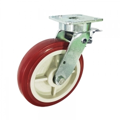 kingpinless PU swivel caster wheel with back brake