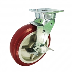 kingpinless PU swivel caster wheel with side brake