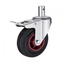 Stem rubber caster wheel with double brakes