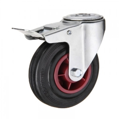 Bolt hole rubber caster wheel with double brakes