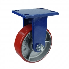 Cast iron core polyurethane rigid caster wheel