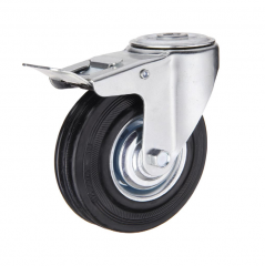 Rubber Caster Wheel With Brakes bolt hole