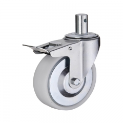 Stem plastic PP caster wheel with double brakes