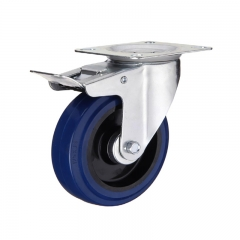 Swivel elastic rubber caster wheel with double brakes